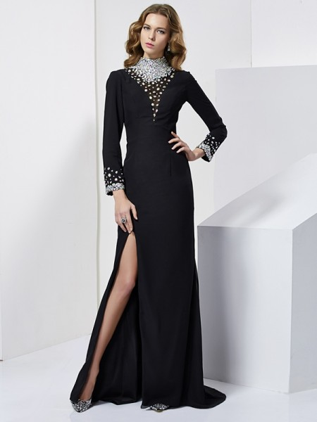 Sheath/Column Rhinestone High Neck Long Sleeves Chiffon Sweep/Brush Train Dresses