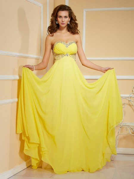 Sheath/Column Chiffon Ruffles Sweetheart Sleeveless Floor-Length Dresses