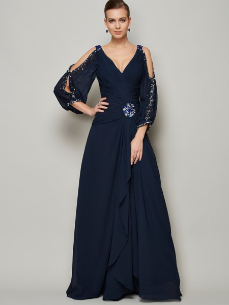 A-Line/Princess Beading V-neck Long Sleeves Chiffon Ankle-Length Dresses