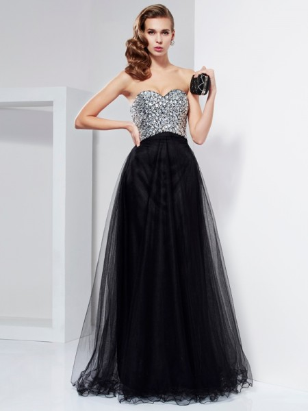 A-Line/Princess Elastic Woven Satin Sweetheart Sleeveless Floor-Length Dresses