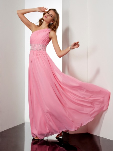 A-Line/Princess Chiffon One-Shoulder Sleeveless Floor-Length Beading Dresses