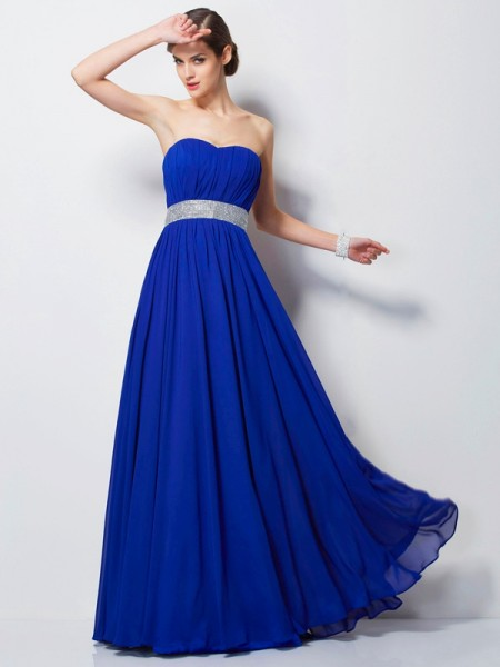 Empire Chiffon Beading Sweetheart Sleeveless Floor-Length Dresses