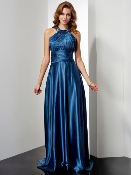 A-Line/Princess Elastic Woven Satin Halter Beading Floor-Length Sleeveless Dresses
