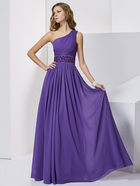 Empire One-Shoulder Sleeveless Beading Chiffon Floor-Length Dresses