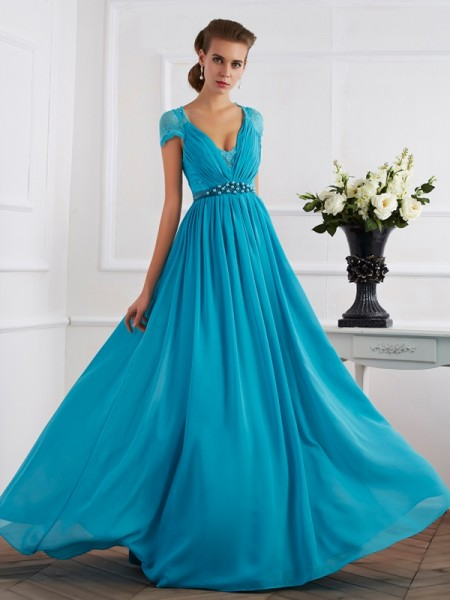 A-Line/Princess Chiffon V-neck Short Sleeves Beading Floor-Length Dresses