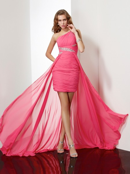 Sheath/Column Chiffon One-Shoulder Short/Mini Beading Sleeveless Dresses