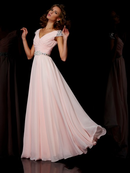 A-Line/Princess V-neck Short Sleeves Floor-Length Ruffles Chiffon Dresses