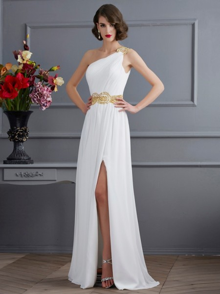 A-Line/Princess One-Shoulder Sleeveless Ruched Chiffon Sweep/Brush Train Dresses