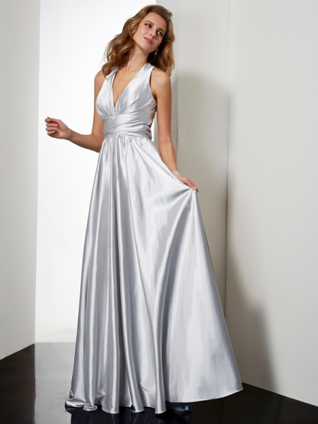 Sheath/Column Elastic Woven Satin Halter Sleeveless Pleats Floor-Length Dresses
