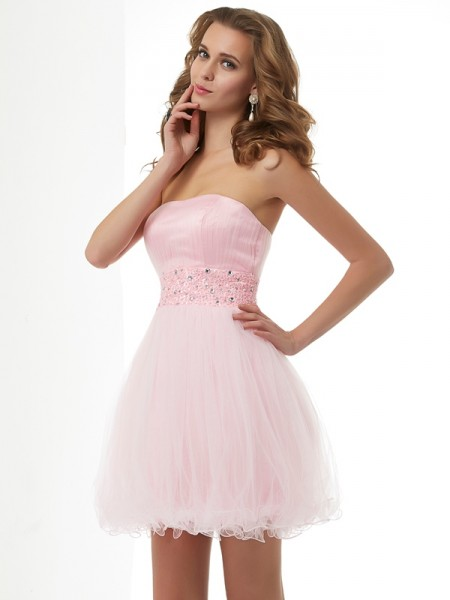 Sheath/Column Elastic Woven Satin Sweetheart Sleeveless Beading Short/Mini Dresses