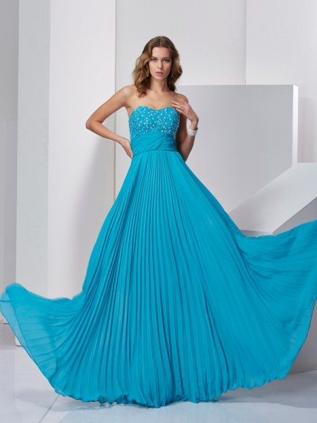 A-Line/Princess Sweetheart Sleeveless Beading Chiffon Sweep/Brush Train Dresses