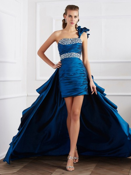 A-Line/Princess Taffeta One-Shoulder Sleeveless Beading Asymmetrical Dresses
