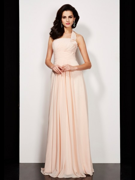 A-Line/Princess Halter Sleeveless Pleats Chiffon Floor-Length Dresses