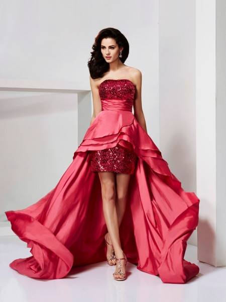 A-Line/Princess Taffeta Strapless Sleeveless Lace Asymmetrical Dresses