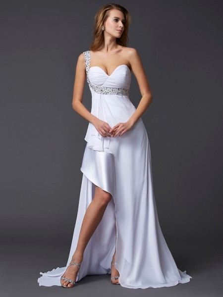 A-Line/Princess Chiffon One-Shoulder Sleeveless Sweep/Brush Train Beading Dresses