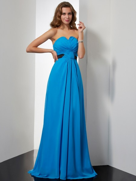 A-Line/Princess Sweetheart Sash/Ribbon/Belt Chiffon Sweep/Brush Train Sleeveless Dresses