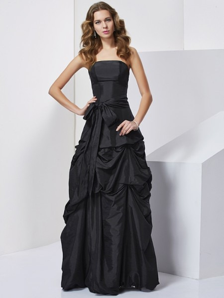 Sheath/Column Taffeta Strapless Sleeveless Bowknot Floor-Length Dresses