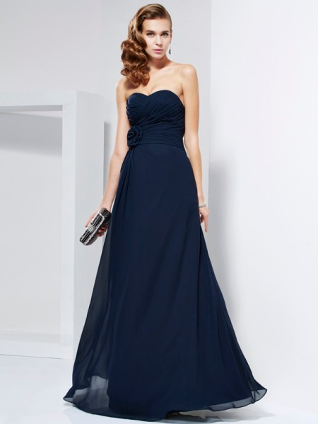 A-Line/Princess Chiffon Sweetheart Floor-Length Hand-Made Flower Sleeveless Dresses