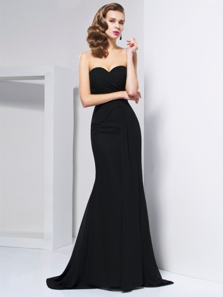 Trumpet/Mermaid Chiffon Sweetheart Sleeveless Pleats Sweep/Brush Train Dresses