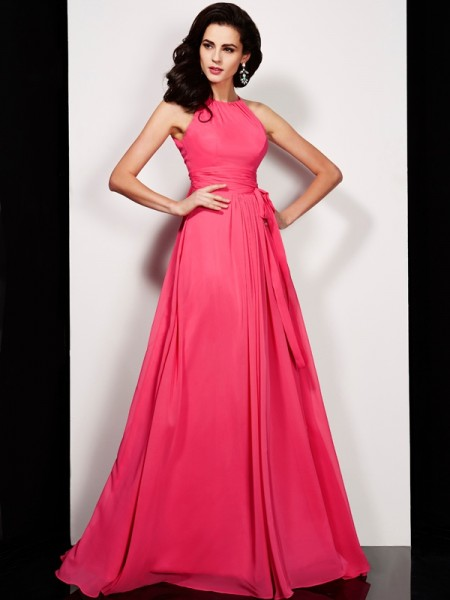 A-Line/Princess Chiffon High Neck Sleeveless Sash/Ribbon/Belt Floor-Length Dresses