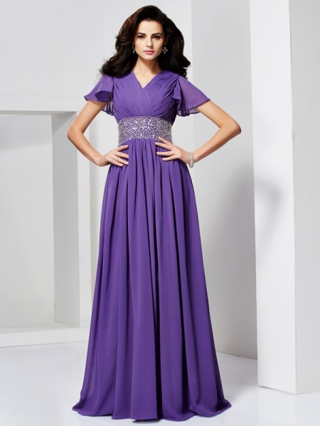 A-Line/Princess Beading V-neck Short Sleeves Chiffon Floor-Length Dresses