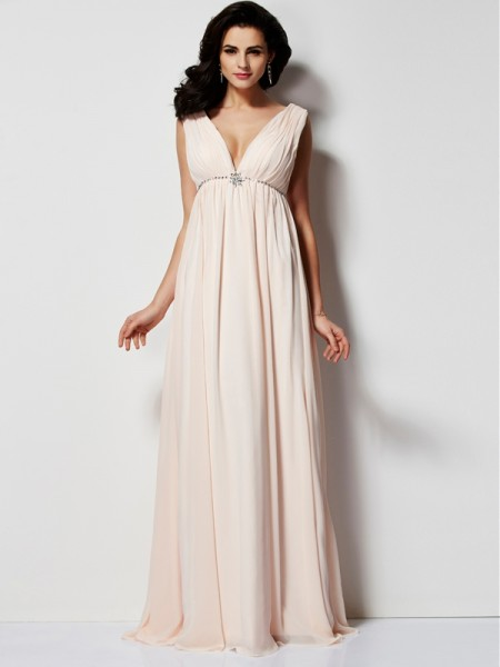 A-Line/Princess Chiffon Pleats V-neck Floor-Length Sleeveless Dresses