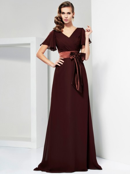 A-Line/Princess Chiffon V-neck Short Sleeves Bowknot Sweep/Brush Train Mother of the Bride Dresses