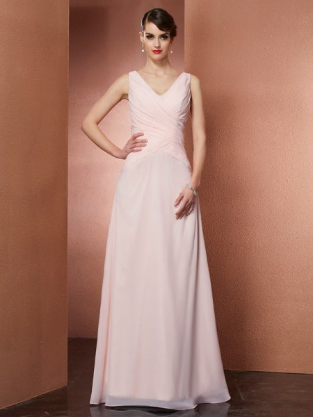 A-Line/Princess Chiffon V-neck Sleeveless Floor-Length Pleats Dresses