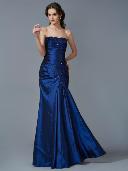 Trumpet/Mermaid Taffeta Strapless Applique Floor-Length Sleeveless Dresses