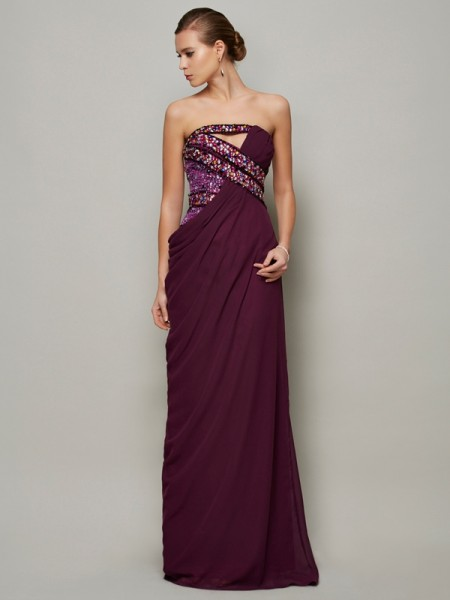 A-Line/Princess Strapless Sleeveless Beading Chiffon Floor-Length Dresses