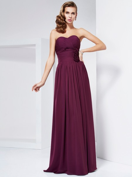 Sheath/Column Sweetheart Floor-Length Hand-Made Flower Chiffon Sleeveless Dresses