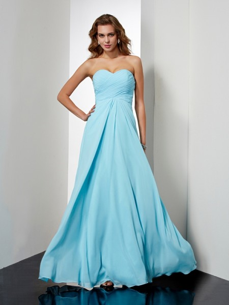 A-Line/Princess Chiffon Sweetheart Sleeveless Beading Floor-Length Dresses