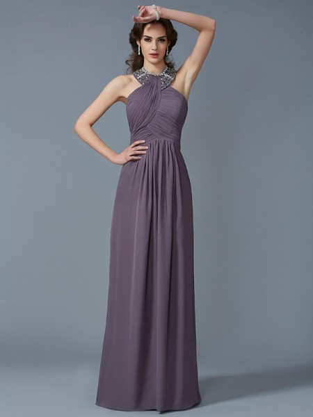 Sheath/Column Chiffon High Neck Beading Floor-Length Sleeveless Dresses