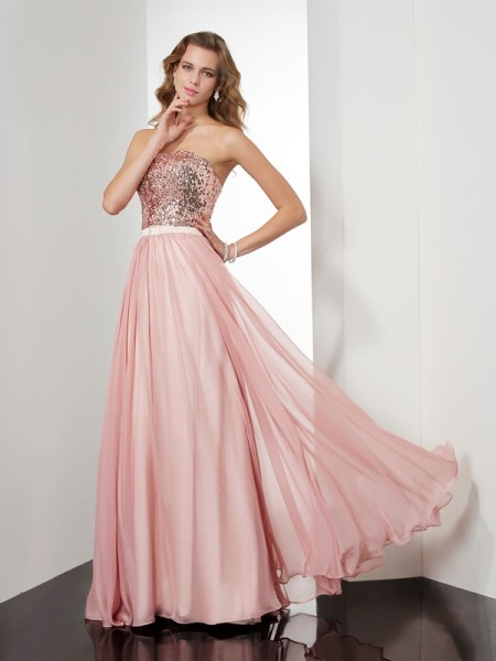 A-Line/Princess Chiffon Strapless Sleeveless Floor-Length Paillette Dresses