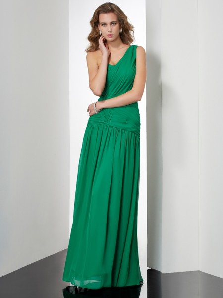 A-Line/Princess One-Shoulder Sleeveless Pleats Chiffon Floor-Length Dresses