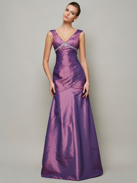 Sheath/Column Taffeta Beading V-neck Floor-Length Sleeveless Dresses