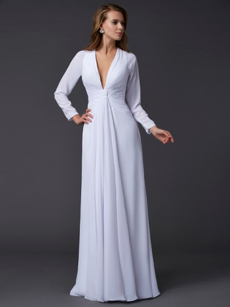 Sheath/Column Chiffon V-neck Long Sleeves Ruched Floor-Length Dresses