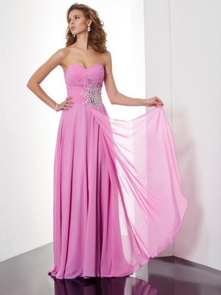 A-Line/Princess Sweetheart Sleeveless Ruched Chiffon Floor-Length Dresses