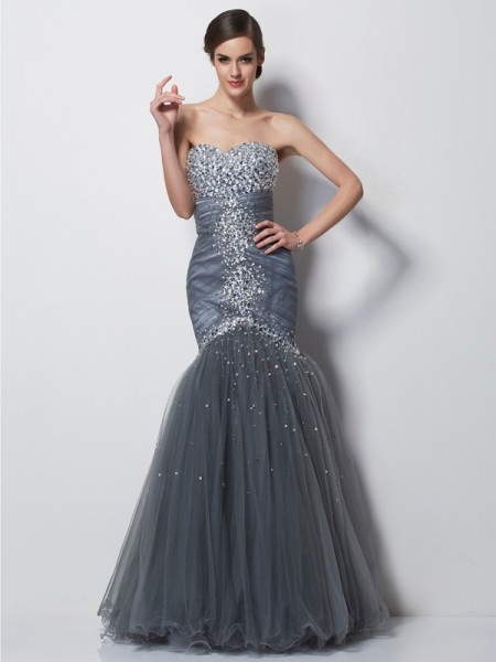 Trumpet/Mermaid Satin Sweetheart Sleeveless Beading Floor-Length Dresses
