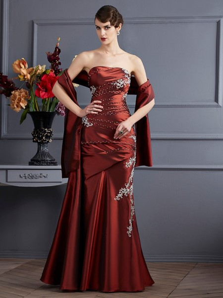 Sheath/Column Taffeta Beading Strapless Sleeveless Floor-Length Dresses