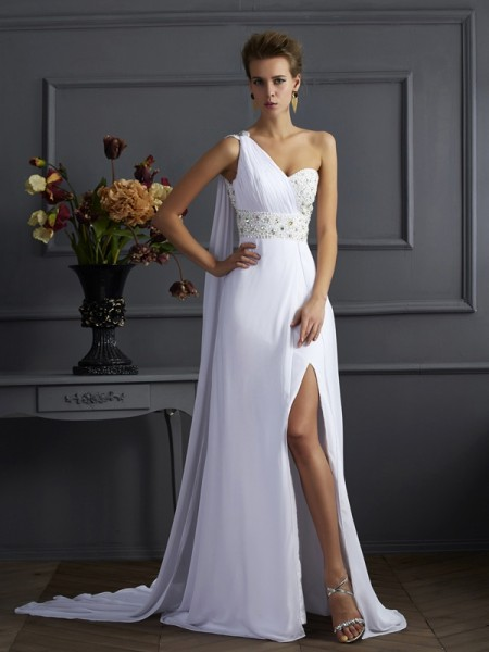 Sheath/Column One-Shoulder Sweep/Brush Train Beading Chiffon Sleeveless Dresses
