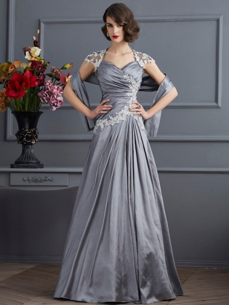 A-Line/Princess Taffeta Sweetheart Short Sleeves Beading Floor-Length Dresses
