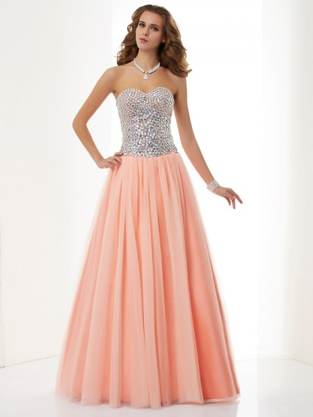 A-Line/Princess Elastic Woven Satin Sweetheart Sleeveless Beading Floor-Length Dresses