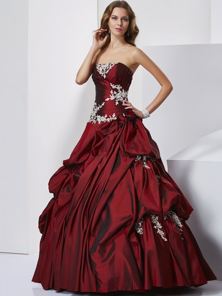 Ball Gown Taffeta Beading Sweetheart Sleeveless Floor-Length Dresses