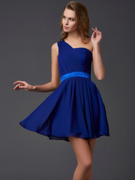 A-Line/Princess Chiffon One-Shoulder Sleeveless Pleats Short/Mini Dresses
