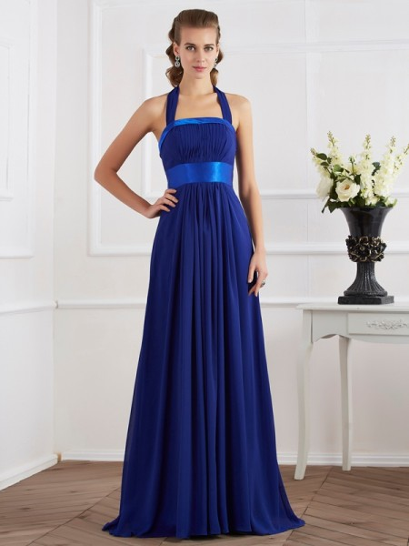 A-Line/Princess Chiffon Halter Ruched Floor-Length Sleeveless Dresses