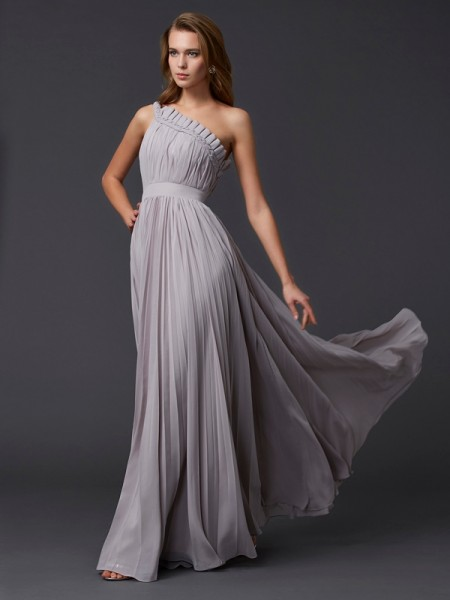A-Line/Princess Chiffon Pleats One-Shoulder Sleeveless Floor-Length Dresses