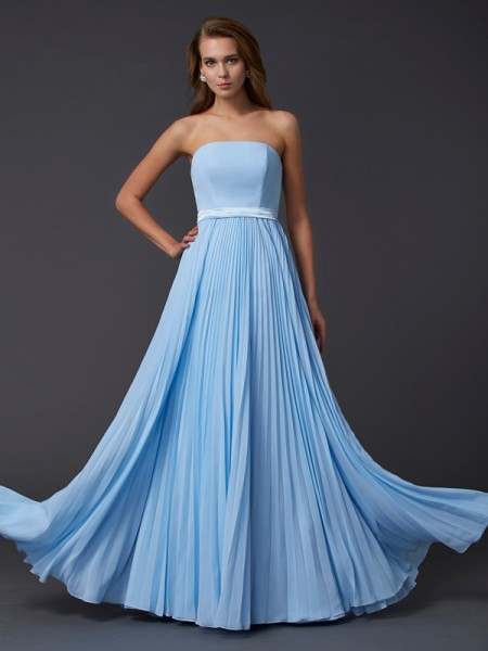 A-Line/Princess Strapless Floor-Length Ruched Chiffon Sleeveless Dresses