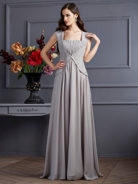 A-Line/Princess Chiffon Square Sleeveless Floor-Length Beading Dresses