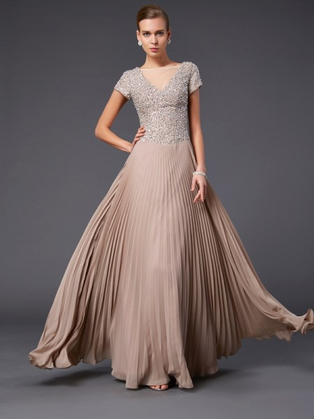 A-Line/Princess Chiffon V-neck Floor-Length Beading Short Sleeves Mother of the Bride Dresses